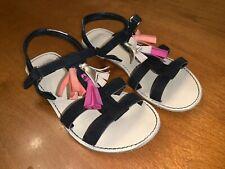 Girls GYMBOREE Black Suede Strappy Sandals w/ Pink/Orange/Gold Tassels SZ 12