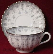 SPODE china FLEUR DE LYS Y7515 Grey Cup & Saucer Set - 2-1/8""