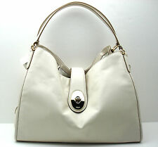 New w/Defects Coach Smooth Leather Carlyle Shoulder F37637 Chalk/Light Beige