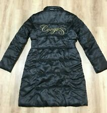 Coogi Women's Black Long Puffy Full Zip & Button Front Trench Coat L