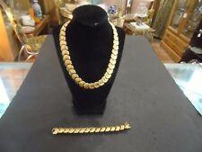 Napier Heavy Gold Tone Link Necklace & Bracelet Set