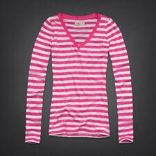 New Hollister Women's Pink Striped Long Sleeve Seagull Logo Shirt Size Medium