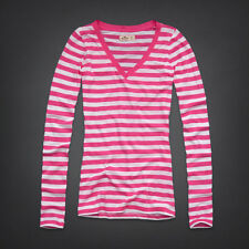 New Hollister Women's Pink Striped Long Sleeve Seagull Logo Shirt Size Small