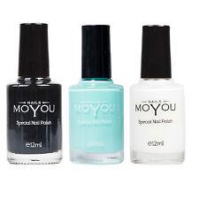 MoYou Nail Fashion Stamping Nail Art 3 Polish Bundle Black, Powder Blue & White