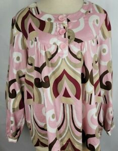 Dress Barn Womens Size 18/20 Pink Brown Pullover Peasant Boho Blouse Top