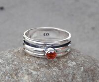 Garnet  Solid 925 Sterling Silver Spinner Ring Meditation statement Ring SR305