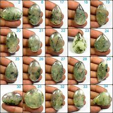 NATURAL RUTILE GREEN PREHNITE CABOCHON LOOSE MASSIVE! GEMSTONE VARIATION PRT-A