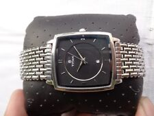RARE STAINLESS STEEL TITAN INDIA BLACK DIAL MENS QUARTZ WRISTWATCH