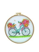 Tuva Cross Stitch Kit with Wooden Hoop 7'' / 18.5 cm  - Birds, Blooms & Bicycle