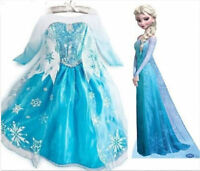 Girls Frozen Elsa Long Dress Costume Princess Anna Party Dresses Fancy Cosplay