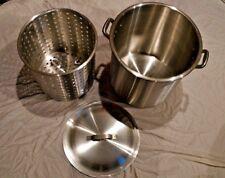 60 Qt Stock Pot + Large Basket and Lid     -Alsasa NSF El Salvador- -New-