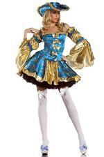 Deluxe Blue Pirate Sexy Women Queen Costume Fancy Dress Halloween Partywear