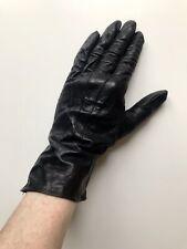 Vintage Black Leather Gloves - Small