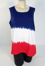 Jones New York Red White Blue Stretch Sleeveless Top Women's XL NWT