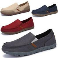 Driving Soft Mens Breathable Canvas Slip On Casual Flats Comfort Low Top Shoes
