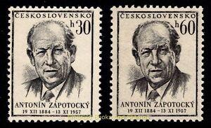 EBS Czechoslovakia 1957 - Antonín Zápotocký Dead - Michel 1048-1049 MH*