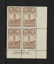 Canada Stamps: MNH Plate Block; 10c 1942-43 Parliament Building #257; PL#4 LR