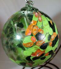 "6"" Greens & Burnt Orange Witch Ball Friendship Kugel Medusa Spirit Glass Ball"