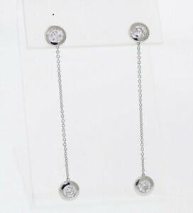 NEW 14k White Gold 1.08ctw Round Diamond Bezel Set Chain 2 inch Dangle Earrings