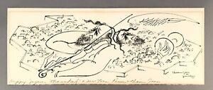 INK DRAWING, CHAIM GROSS, JESUSALEM 1957, CHANNUKAH  VIOLINIST TWO MUSICIANS