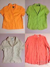 4 Women's L Eddie Bauer L.L.Bean Nygard Orange Green Linen Lounge Casual Shirts