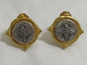 SUSAN SHAW BEE FLY INTAGLIO EARRINGS MIXED METAL CLIP ON EUC