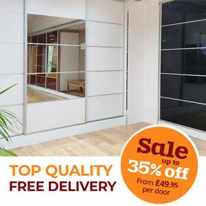 Sliding Wardrobe Doors Solid & Mirrored High Gloss Finish 7colours Track & Rail