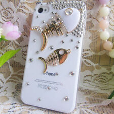 HANDMADE KOREAN CRYSTALS WHITE FISH RIBS COVER FOR IPHONE4S