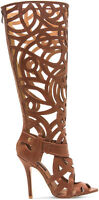NEW CHELSEA & ZOE SZ 10.5 PARADISE BROWN TALL GLADIATOR SANDAL HEEL STRAPPY