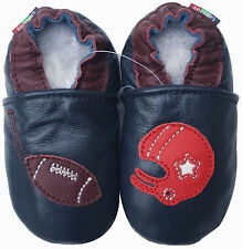 soft leather baby shoes football navy blue 0-6m