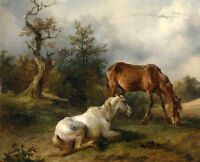 ZOPT423  100% hand painted two animal horse in forest oil painting art on canvas