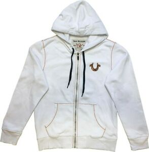 New Mens True Religion Big T Zip Hoodie White 102293 Sale Sale!!!!!