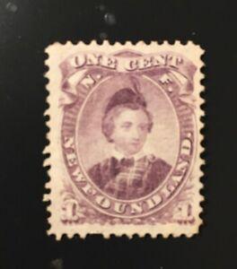 Stamps Canada Newfoundland Sc32 1 cent violet Edward, mint, see details