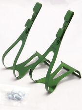 TRACK ROAD BIKE BICYCLE STEEL TOE CLIPS,GREEN,LARGE,NEW
