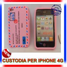 Custodia + Pellicola silicone AIRMAIL ROSA per IPHONE 4G