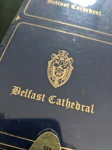 New Set of 6 Vintage Belfast Cathedral Leather Coasters Navy Gold Ireland
