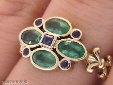 s R139- Genuine  9ct Solid Gold NATURAL Emerald & Sapphire Blossom Ring size N