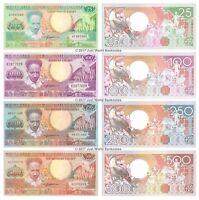 Suriname 25 + 100 + 250 + 500 Gulden Set of 4 Banknotes 4 PCS UNC
