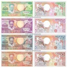 More details for suriname 25 + 100 + 250 + 500 gulden set of 4 banknotes 4 pcs unc