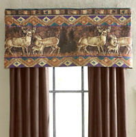 "Croscill Deer Tailored Valances Chippewa 54""W 22""L Set of 2 Cabin Hunting Lodge"