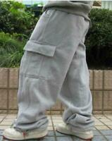 Mens Loose Cargo Baggy Hip Hop Long Pants Trousers Athletic Sweatpants Plus sz