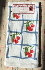 Blue Country Cherry - Retro Vintage Style Cotton Flour Sack 50's Kitchen Towels