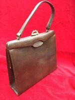 Crocodile Genuine Leather Lizard Brown Purse Handbag Vintage Triangle