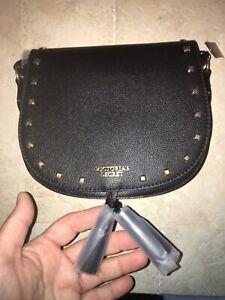 Victoria's Secret Black Long Strap Handbag ~ Purse ~ Decorative Square Rivets