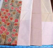 1.3 YDS PINK FLORAL ON ECRU AND COORDINATES ALL COTTON FABRIC LOT BUNDLE