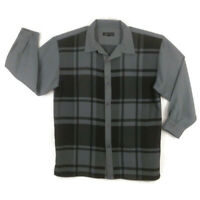 Montique Shirt Mens XL Button Front Long Sleeve Gray & Black Plaid Polyester GUC