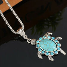 Women Turquoise Rhinestone crystal Turtle Pendant Silver Plated Chain Necklace