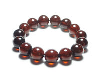 Baltic Poland Blood Red Natural Pressed Amber Round Beads Bracelet
