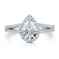 14K White Gold Wedding Rings 1.58 Ct Pear Cut Diamond Engagement Ring Size L M