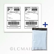100 10x13 Poly Mailers Shipping Envelopes Bags and 200 8.5x5.5 Shipping Labels